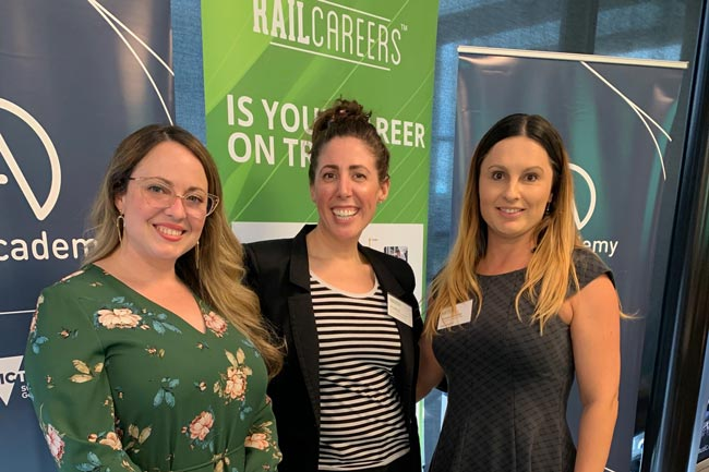 Rail Academy's Caitlin Ryan, Gordana Stankovski and Amy Barrow at the Australian Careers Services seminar