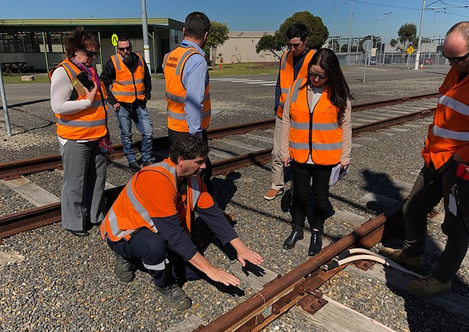 Rail Academy students on the rail corridor