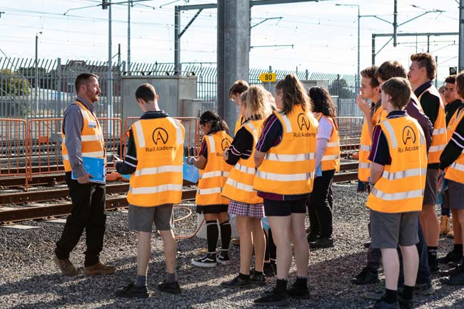 Students gathering outside the rail lines at Rail Academy Newport for the rail careers event in April