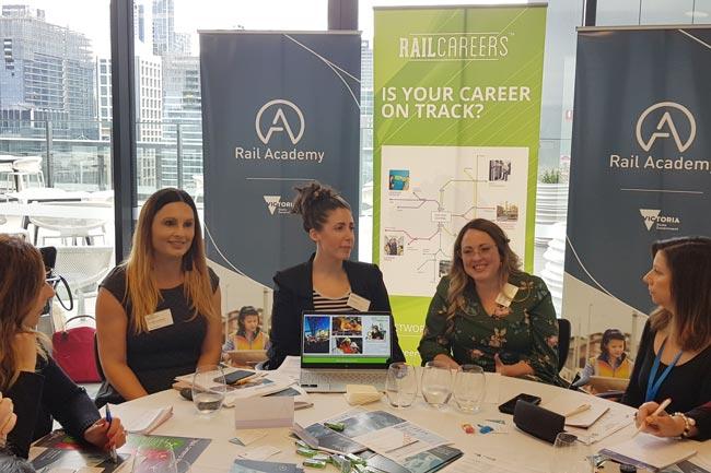 Rail Academy's Caitlin Ryan, Gordana Stankovski and Amy Barrow at the Australian Careers Services seminar