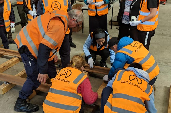 Students building a simulated track during the recent Rail Careers Week